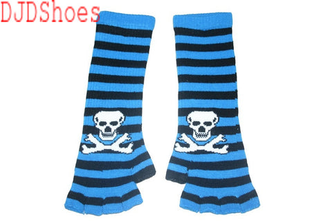 Black and Blue Skull Arm Length Fingerless Gloves