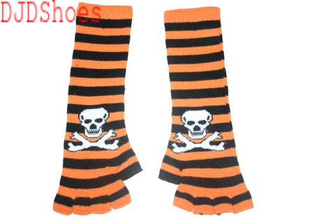 Black and Orange Skull Arm Length Fingerless Gloves