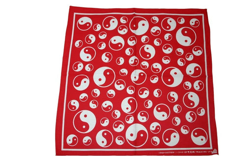 Square Red Ying and Yang Bandana