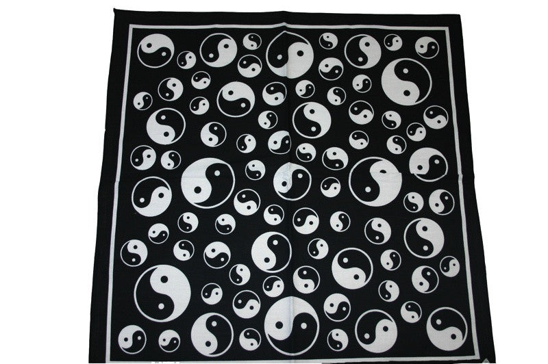 Square Black Ying and Yang Bandana