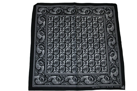 Square Black Patterned Bandana