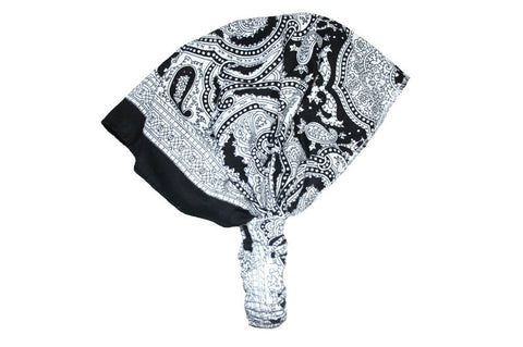 White Patterned Elastic Bandana