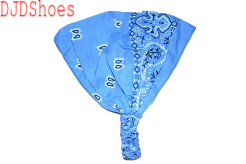 Blue Patterned Elastic Bandana