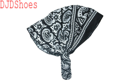 Black Patterned Elastic Bandana