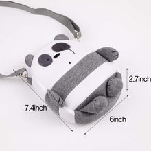 Load image into Gallery viewer, Two Zipper Cross Body Bag Cute Bare Bear Handbag Strap Purse