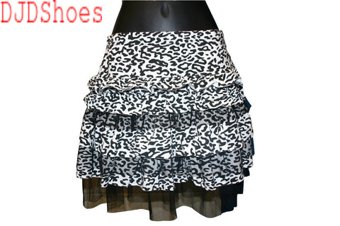 Black and White Animal Print and Mesh Skirt