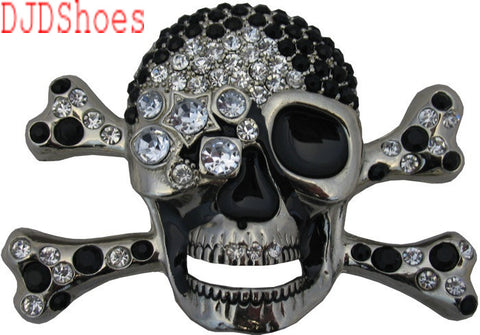 Bejewelled Black Diamond Skull Belt Buckle