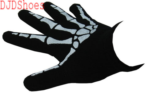 Black Gloves with Skeleton Design