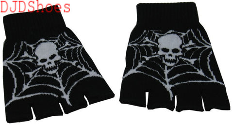Black Fingerless Gloves with Skull and Cobweb Pattern