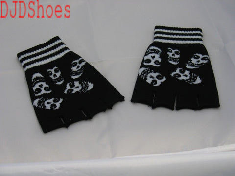 Black and White Ghoul Faces Fingerless Gloves