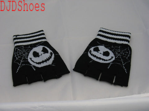 Black and White Jack and Cobwebs Fingerless Gloves
