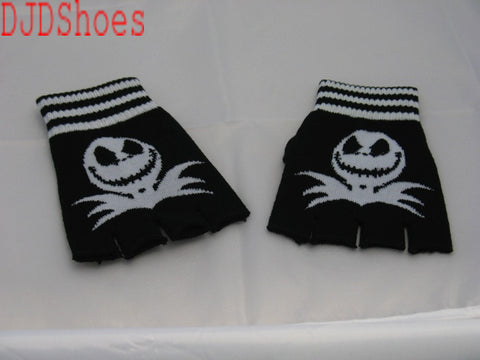 Black and White Jack Fingerless Gloves