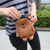 Two Zipper Cross Body Bag Cute Bare Bear Handbag Strap Purse