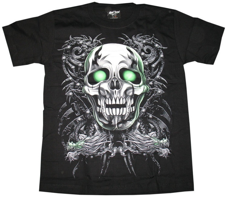 Rock Chan Glow-In-The-Dark Tribal Skull T-shirt