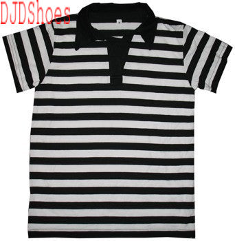 Black and White Striped Polo Shirt