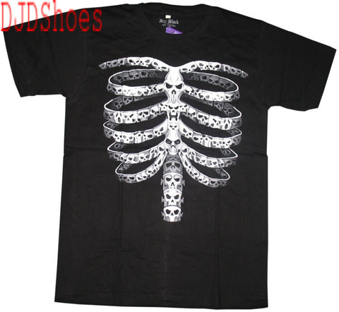 Black Ribcage made of Skulls T-Shirt