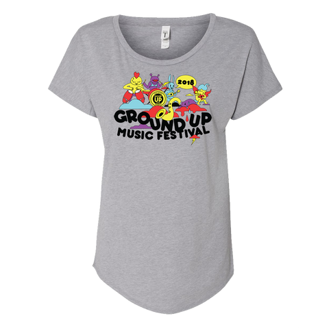 Ladies 2018 GroundUP Fest Graphic T-Shirt (Gray)