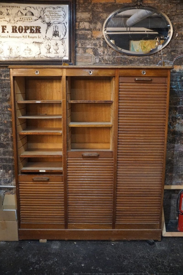1930's Tambour Fronted Oak Cabinet - Bloodline Merchants