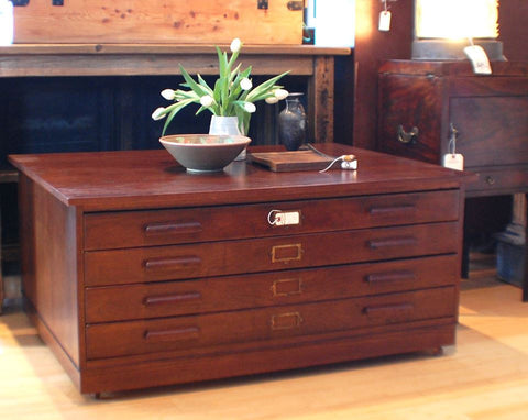 Mid-century solid oak architect's plan chest coffee table