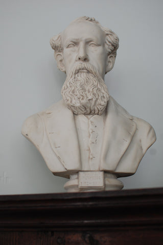 A marble bust of Charles Dickens