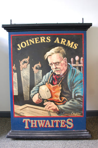 Authentic double-sided hand painted English pub sign - Joiners Arms