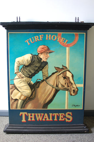 Authentic double-sided hand painted English pub sign - Turf Hotel