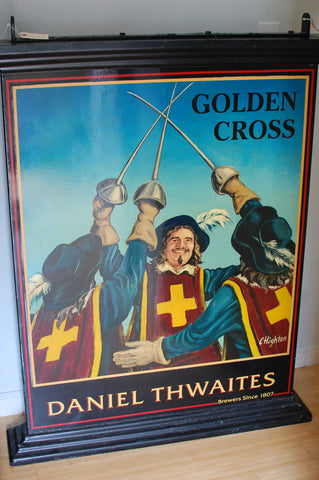 Authentic double-sided hand painted English pub sign - Golden Cross