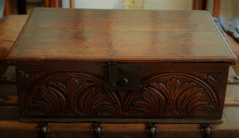 17th Century Hand Carved Oak Bible Box
