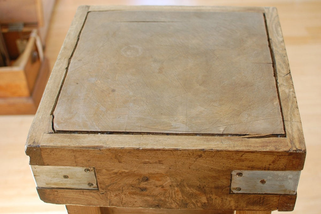 Antique beech butchers block on an elm base - Bloodline Merchants