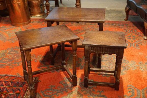 Antique Oak Nesting Side Tables - Bloodline Merchants