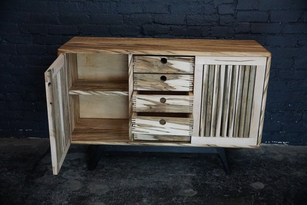 Artisan crafted wormy maple sideboard with torched red oak legs - Bloodline Merchants