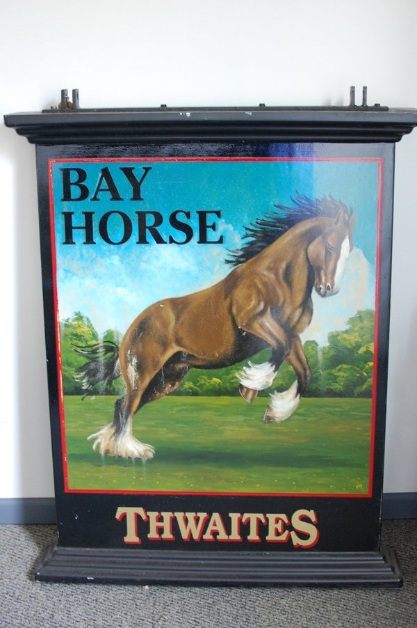 Authentic double-sided hand painted English pub sign - Bay Horse - Bloodline Merchants