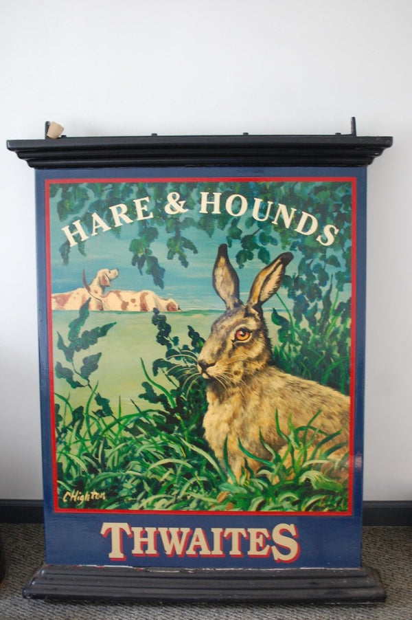 Authentic double-sided hand painted English pub sign - Hare & Hounds - Bloodline Merchants