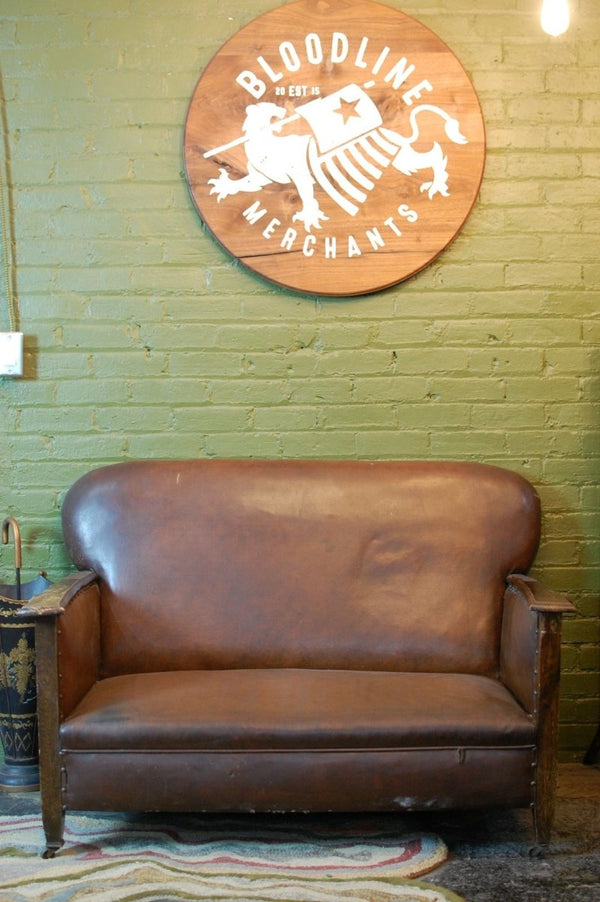 Brown High Back Loveseat - Bloodline Merchants
