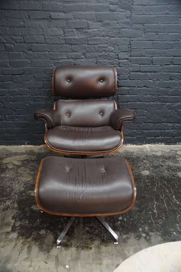 Brown Leather Chair with Ottoman - Bloodline Merchants