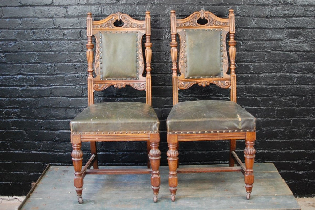 Carved Oak and Green Leather Dining Chairs (4) - Bloodline Merchants