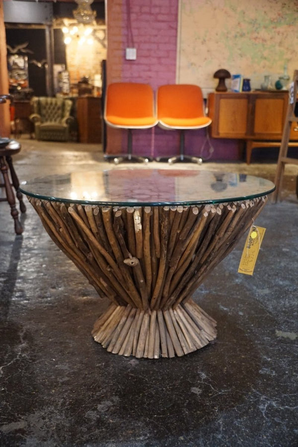 Circular Cross-Cut Stick Coffee Table - Bloodline Merchants