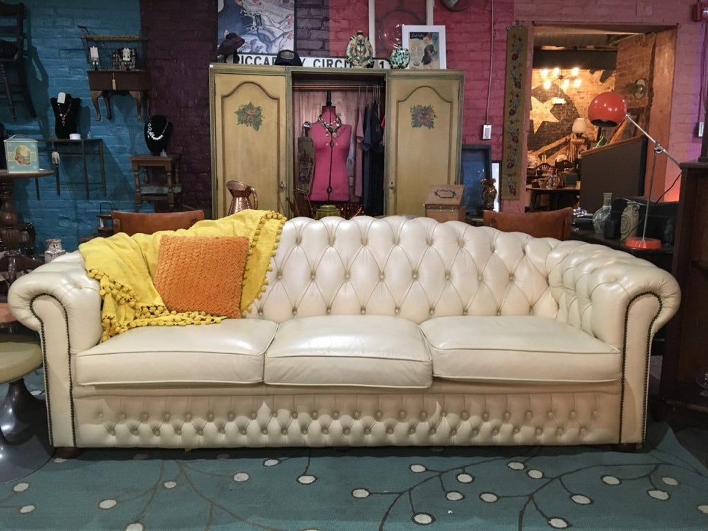 Cream Leather Couch (4 Seater) - Bloodline Merchants