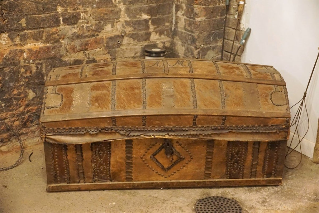 Fur and Leather 18th C Spanish Domed Trunk - Bloodline Merchants