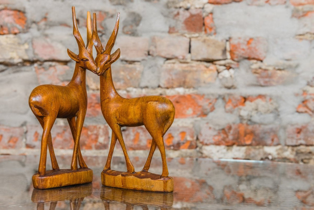 Gazelle Wood Sculpture (Pair) - Bloodline Merchants