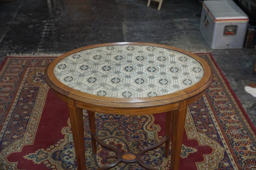 Lace and Glass Top Oval Oak Table - Bloodline Merchants