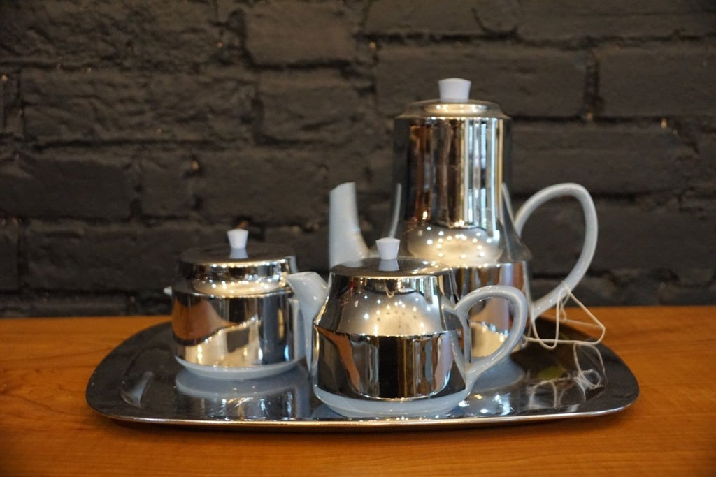 Mid Century Chrome and Porcelain Coffee Set - Bloodline Merchants