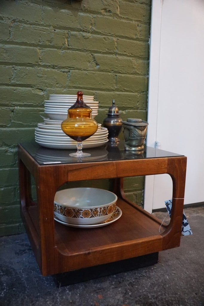 Mid Century Glass Top Side Table - Bloodline Merchants