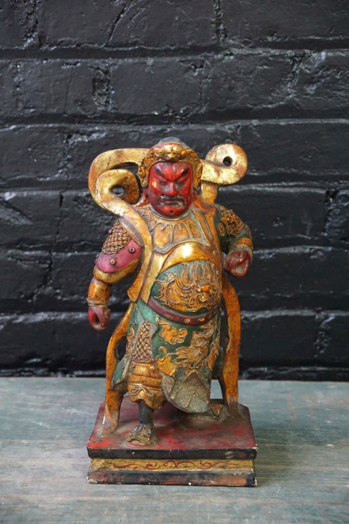 Oriental polychrome figure of a warrior - Bloodline Merchants