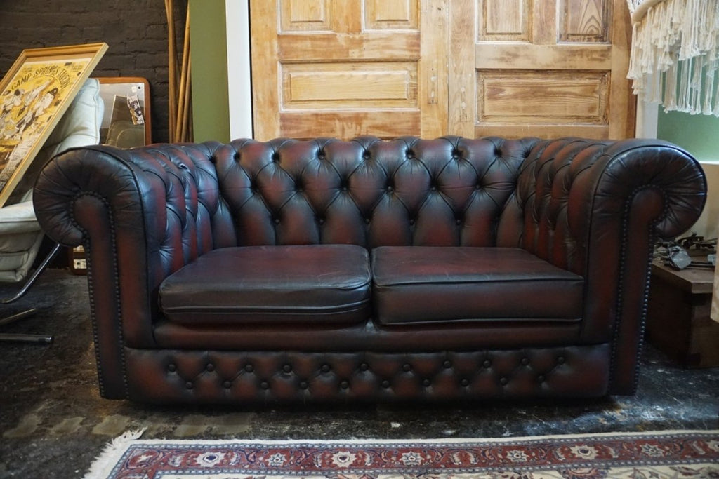 Oxblood Red Chesterfield Love Seat - Bloodline Merchants