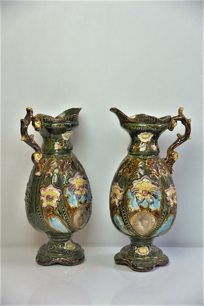 Pair of Majolica Style Vases - Bloodline Merchants