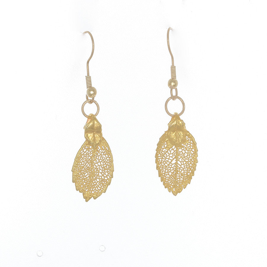 Raku- 24k gold covered leaves on French hook earrings - Finesse Jewelry