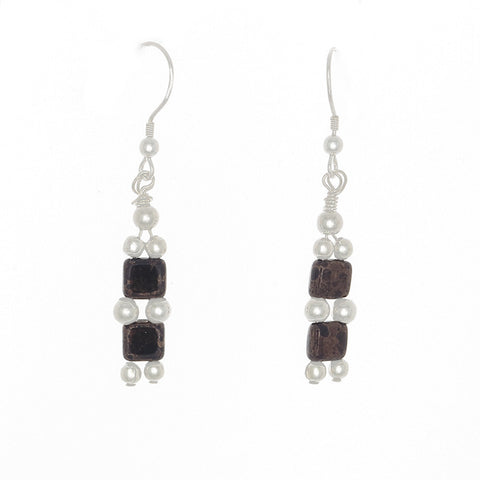 2 Crystal Bead Drop with Sterling Silver Beaded Earrings on French Hooks - Finesse Jewelry