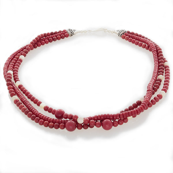 Three-Strand Coral & Ulexite necklace with Sterling Silver Toggle Clasp - Finesse Jewelry