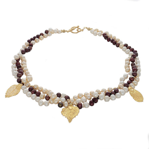 Raku - 24k gold covered leaves on a  3 strand pearl necklace - Finesse Jewelry